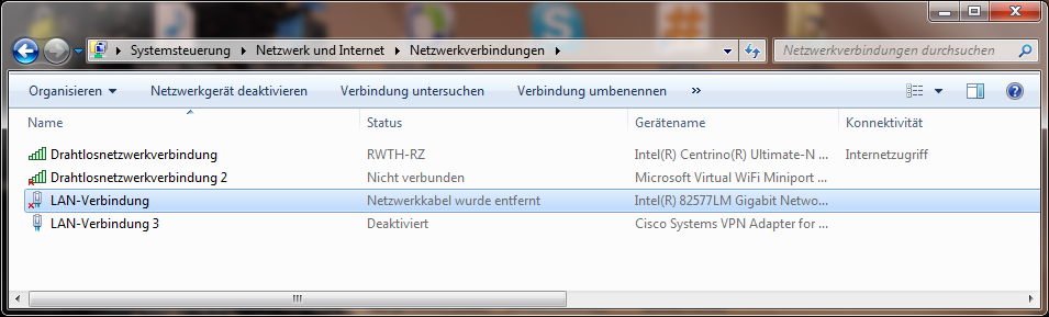 'Eigenschaften' der LAN-Verbindung einstellen