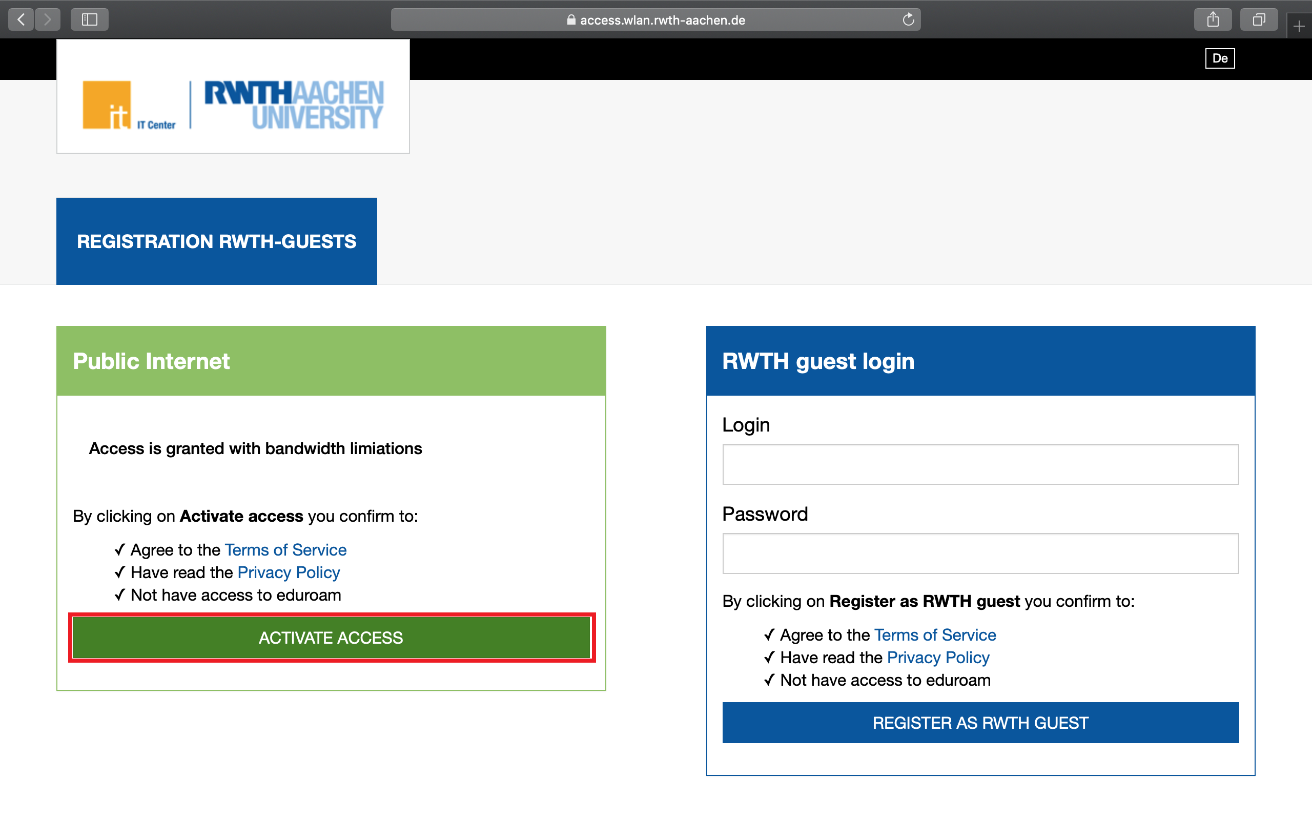 Connect with RWTH-guests