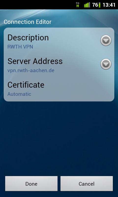 Enter settings