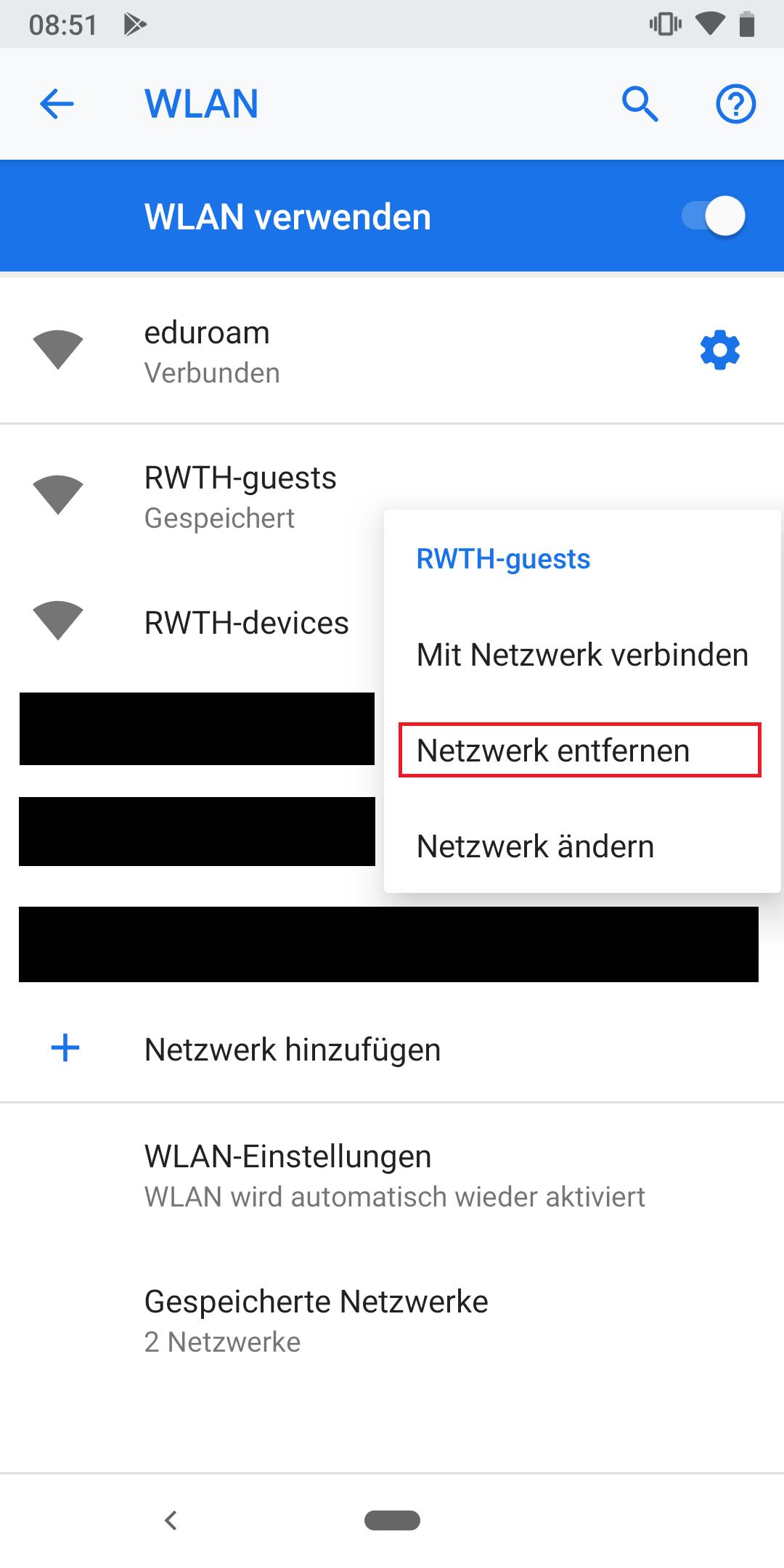 RWTH-guest entfernen