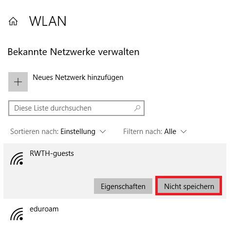 Entfernen des RWTH-guests WLAN