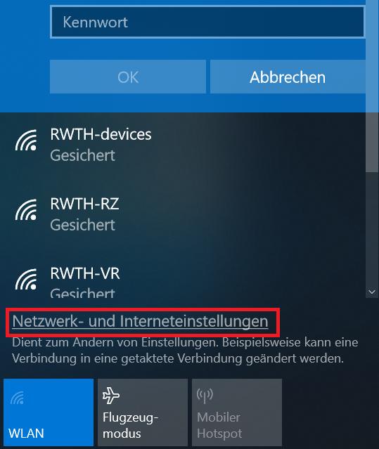 Netzwerk- und Interneteinstellungen öffnen